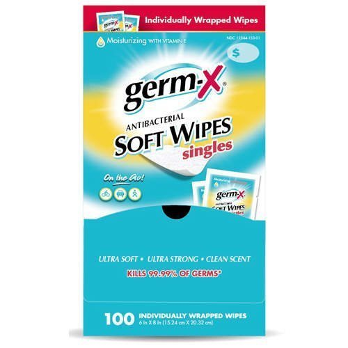 Germ-X Antibacterial Wipes with Moisturizing Vitamin E - 100 Individually Wrapped 6'' by 8'' Travel Packets (Pack of 6)