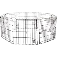 AmazonBasics Foldable Metal Pet Exercise and Playpen with Door, 24""