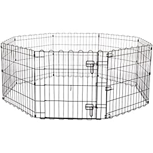 AmazonBasics Foldable Metal Pet Exercise and Playpen 9