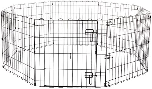 AmazonBasics Foldable Metal Pet Dog Exercise Fence Pen With Gate - 60 x 60 x 24 Inches from AmazonBasics