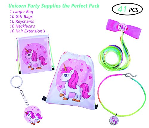 (41pack) Unicorn Party Supplies, Unicorn Party Favors Bags Drawstring Backpack Goodies bags, Party bags Favors For Kids and Girls Birthday, Pre-Filled Gift Keychains Necklace's Hair Extension's Unicorn