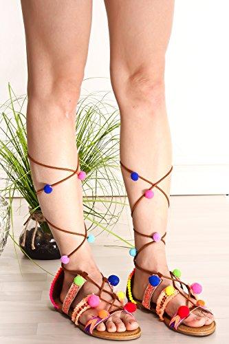 Lolli Couture Evigt Länka Öppen Tå Multi Elastisk Rem Design Dragkedja Spets Avslappnade Knä Hög Gladiatorsandaler Kastanj-inspirera-51v
