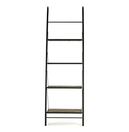 Kathy Kuo Home Martina Industrial Loft Reclaimed Wood Ladder Bookcase