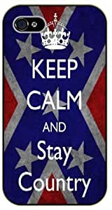 iPhone 4 / 4s Keep calm and stay country - black plastic case / Keep calm, funny, quotes, UK flag