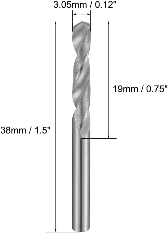 Hardened to 50 HRC 2 Pcs uxcell 3.35mm Solid Carbide Drill Bits Straight Shank for Stainless Steel Alloy Hard Steel