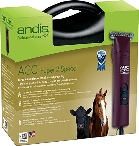 ANDIS Company Equine Agc2 Super 2-Speed Horse Clipper with T-84 Blade Burgundy 3400/4400 SPM