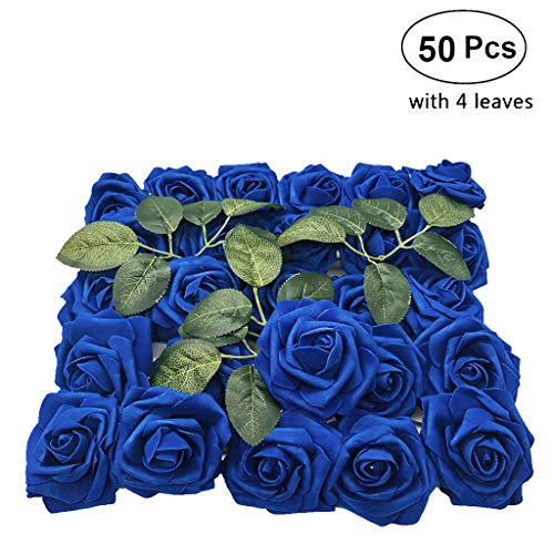 Lmeison 50pcs Christmas Tree Decorative Artificial Royal Blue Roses, Artificial Flowers Rose Real Looking Fake Foam Flower for Bridal Wedding Bouquets Centerpieces Baby Shower DIY Party Home Décor (Centerpieces Christmas Blue)