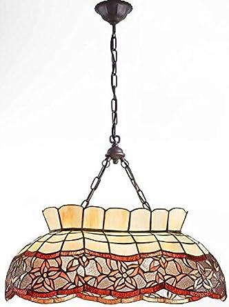 Lámpara de techo tiffany ámbar con diseño floral naranja ...