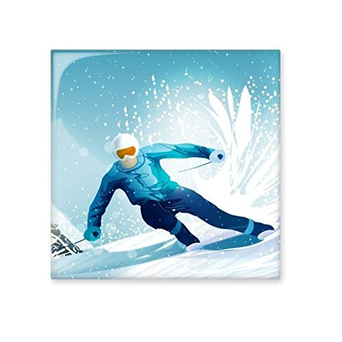 high-quality Winter Sport Skiing with Skis and Ski Pole Illustration Ceramic Bisque Tiles for Decorating Bathroom Decor Kitchen Ceramic Tiles Wall Tiles