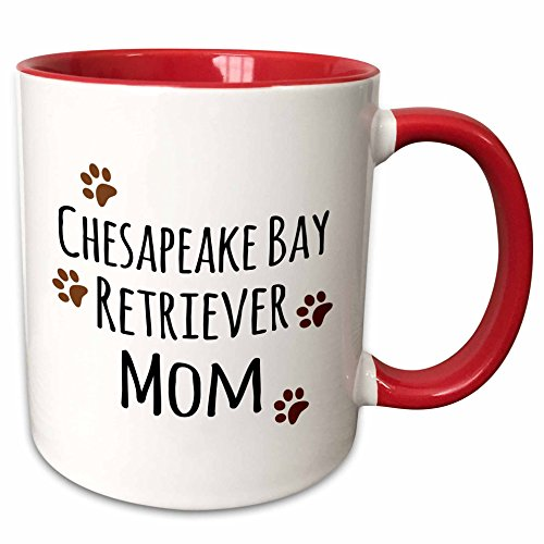3dRose mug_154095_5 Chesapeake Bay Retriever Dog Mom-Doggie by Breed-Brown Muddy Paw Prints Ceramic, 11 oz, Red/White