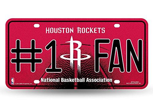 NBA Houston Rockets Bling #1 Fan Metal Auto Tag Plate, 12 x 6-Inch, Silver