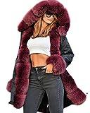 Roiii Vintage Women Military Faux Fur Hooded Winter Warm Coat Ladies Jacket S...