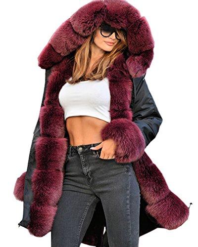 Capuche Militaire Grande Aofur Avec Hiver Style Taille Chaud Parka Manteau Femme Noir Veste Fourrure Blouson 8gnvqZ0gW