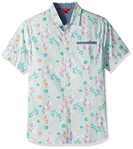 UNIONBAY Men's Classic Short Sleeve Poplin Button-up Woven Shirt, Pool Large