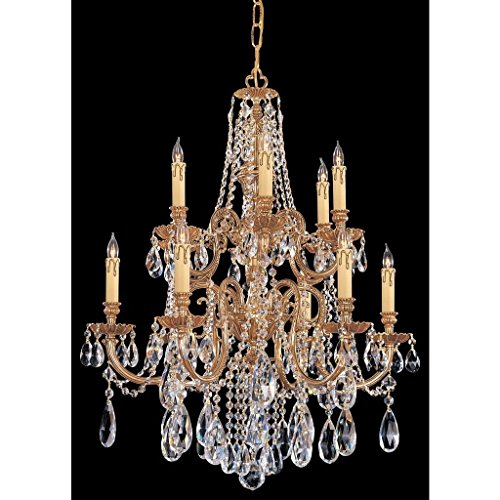 Crystorama 2712-OB-CL-SAQ Novella 12LT 2-Tier Chandelier, Olde Brass Finish with Clear Swarovski Spectra Crystal