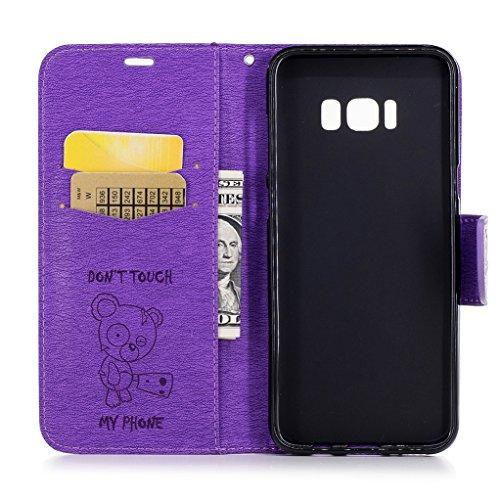 Trumpshop Smartphone Carcasa Funda Protección para Samsung Galaxy S8+ / S8 Plus [Dont Touch My Phone (Bebe oso) Azul] PU Cuero Caja Protector Billetera con Cierre magnético Choque Absorción Púrpura