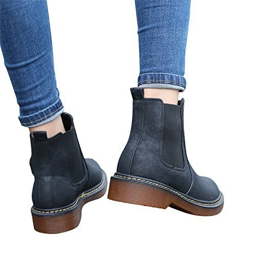 Smilun Unisex Audults Classic Comfortable Warm Chelsea Boots 4 cm Heel Chelsea Boots Shoes for Women Men Black US9.5