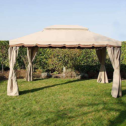 EGLEMTEK - Cenador de jardín Exterior de Aluminio Barnizado, Cobertura 200 g, antilluvia, mosquiteras y Lonas Laterales, 3 x 4 m, Color Beige: Amazon.es: Jardín