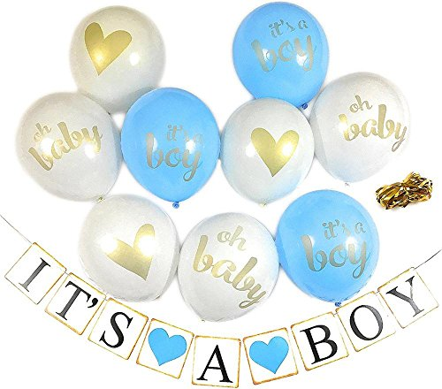 Baby Shower Party Decorations, Bachelorette Decor, Pre-Assembled Banner (Its A Boy) & 9 Piece Balloons with Ribbon [Gold, Blue, White] Hang On Wall Chair Door | Its A Boy Party favors