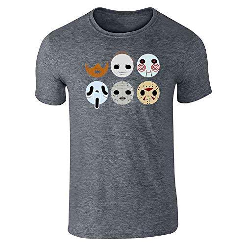 Horror Masks Halloween Costume Monster Dark Heather Gray M Short Sleeve T-Shirt ()