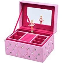 Smonet Musical Jewelry Box, Ballerina Girl's Jewel Storage Case, Twinkle Twinkle Little Star Tune, Pink