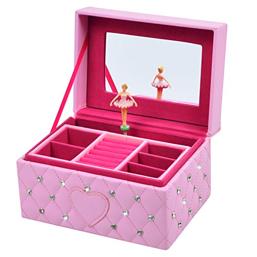 Smonet Musical Jewelry Box, Ballerina Girl's Jewel Storage Case, Twinkle Twinkle Little Star Tune, Pink