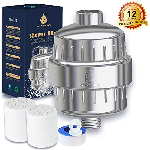 12 stage shower water filter shower filter for hard water shower water softener with 2. Black Bedroom Furniture Sets. Home Design Ideas