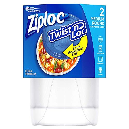 Ziploc Twist N Loc Containers, Medium & Round, 2 CT (Pack of 2)