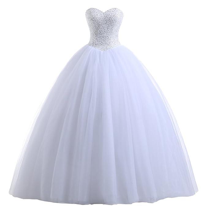 Beautyprom Vestidos de novia vestido de bola nupcial de las mujeres (32, blanco)