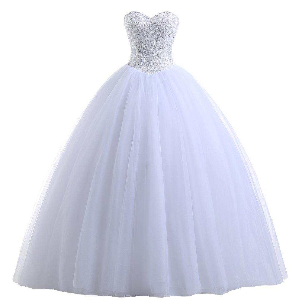 Beautyprom Women's Ball Gown Bridal Wedding Dresses White US14