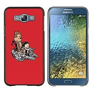 """Be-Star Único Patrón Plástico Duro Fundas Cover Cubre Hard Case Cover Para Samsung Galaxy E7 / SM-E700 ( Buena Divertida Mono lindo Nave Espacial"""" )"""