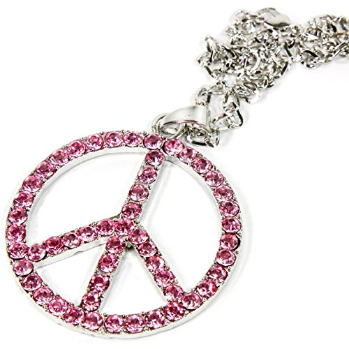 Silver Bling Peace Symbol Mirror Car Charm Hanger Ornament Pink Rhinestones with (Pink Crystal Peace Sign)