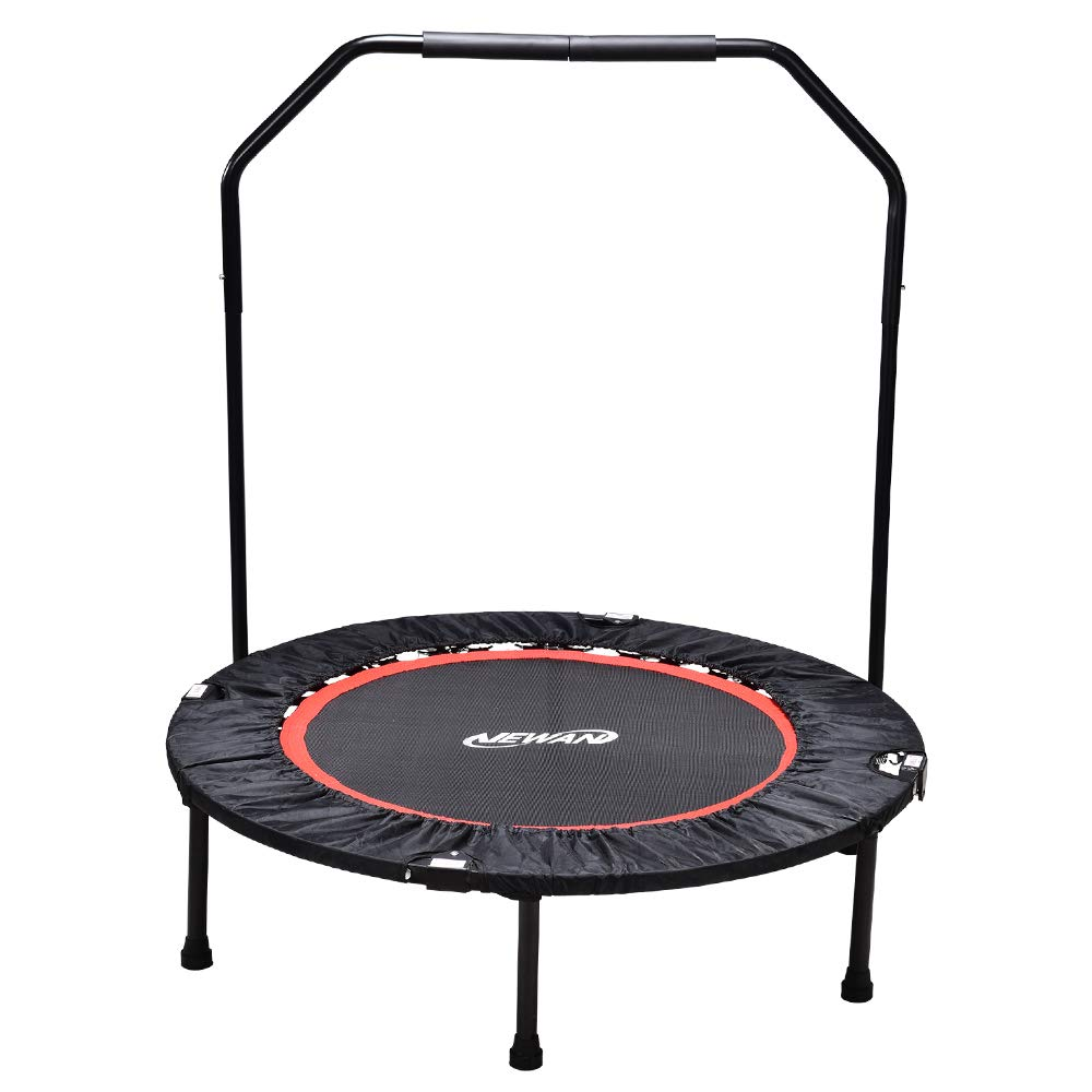 NEWAN Fitness Exercise Trampoline with Handle Bar, 40 Foldable Rebounder Workout Training for Adults or Kids (Max. Load 300lbs) ChengHe