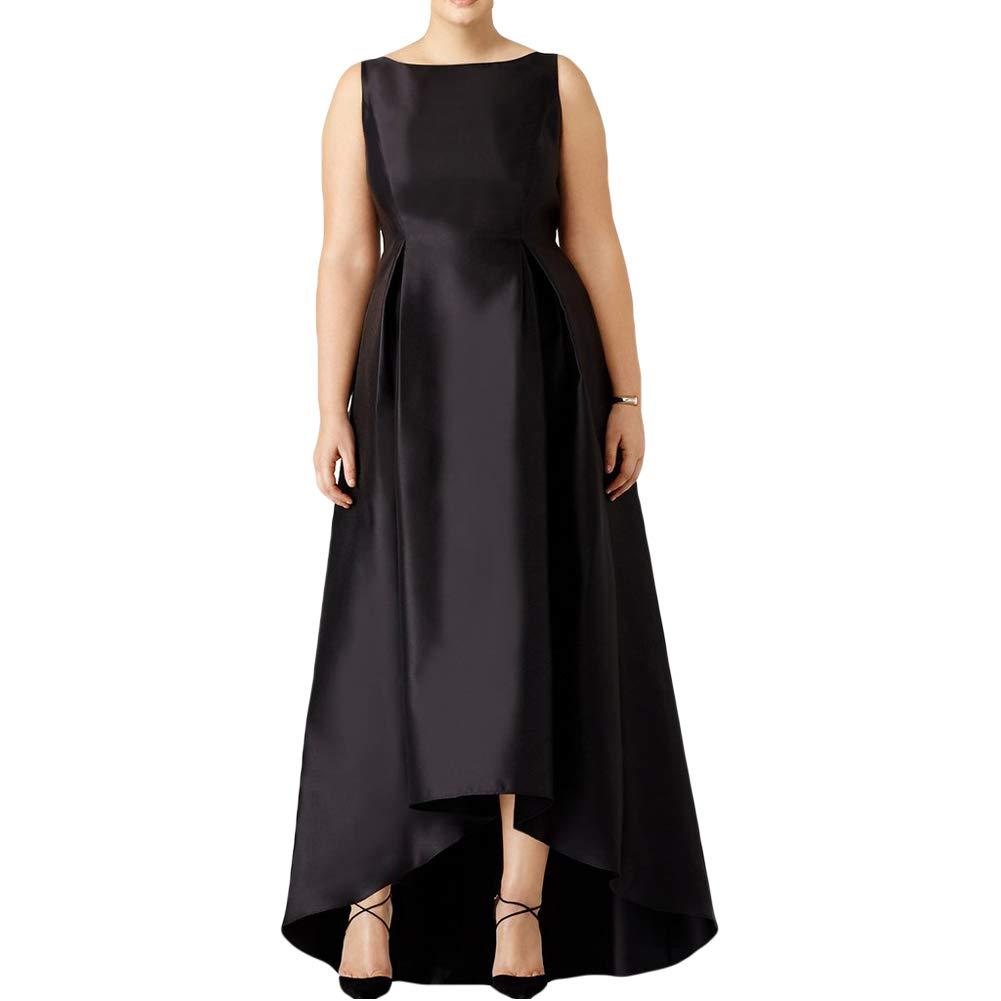 Black Dreagel Elegant Prom Dresses Long Satin High Low Evening Formal Gowns for Women Plus Size