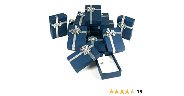 Blue Bowtie Linen Necklace Earring Ring Box JEWELRY SAFEKEEPING DISPLAY GIFT