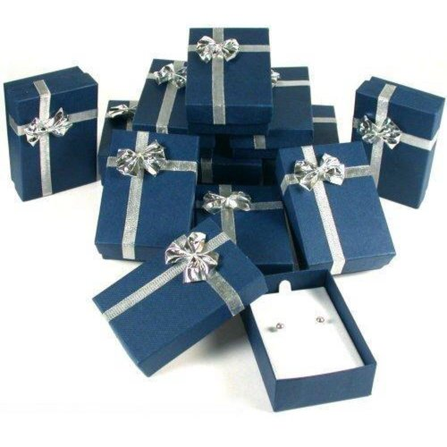 12 Bow Tie Earring Gift Boxes Blue Silver Jewelry Box