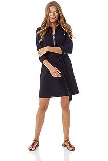 eb4d697d054 Roman Originals Women Zip Front Shirt Dress - Ladies 3/4 Sleeve Knee Length  Casual