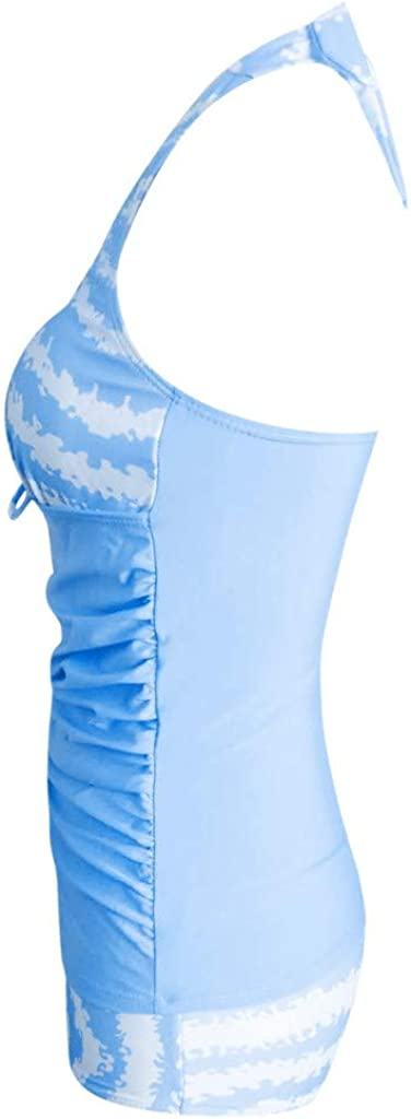 Women Tankini Sets with Boy Shorts ❤ Ladies Push-Up Padded Bra Bikini Halter Swimwear Rainbow Print