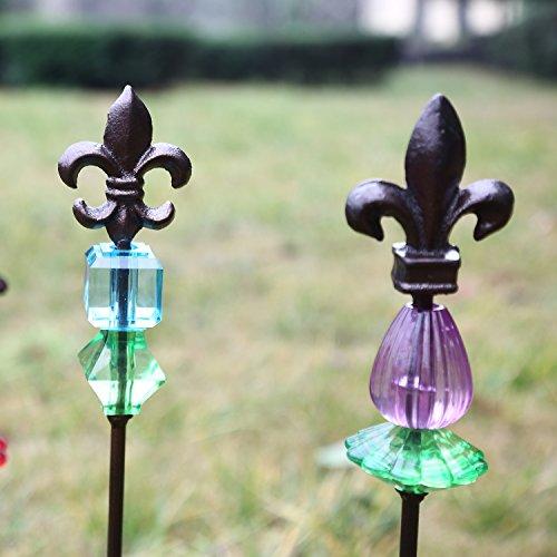 "CEDAR HOME Garden Stake Outdoor Plant Pick Cute Metal Stick Fleur de Lis Art Ornament Decor for Lawn Yard Patio, 2.25"" W x 2.25"" D x 25"" H, 3 Set"