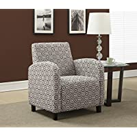 Monarch Specialties Grey/Earth Tone Hexagon Fabric Accent Chair, 33-Inch