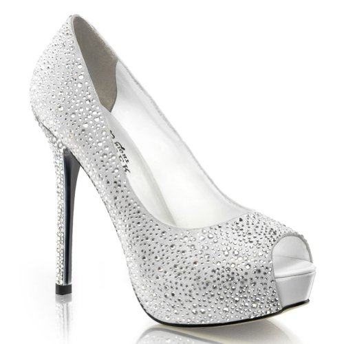(5 Inch Rhinestone Peep Toe Pumps Black Silver Women's Sexy High Heel Shoes Size: 9 Colors: White)