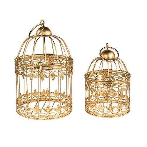 Homeford Gold Metal Wedding Bird Cage Centerpiece, Small, 2-Piece