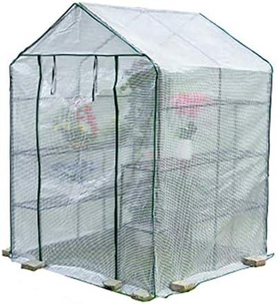ビニールハウス ウォークイン温室カバー、植物成長部屋のPE防水温室テント、庭の家の多肉の花緑色植物の断熱、143X143X195CM