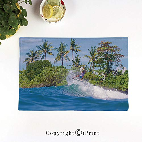 (LIFEDZYLJH Placemats Sets Washable Table Mats Cup Linen Mat Heat/Stain Resistant Mats for Dining Table,Surfer in Ocean by Bali Island Palm Trees Dreamy Nature Scenery,Fern Green Violet Blue)