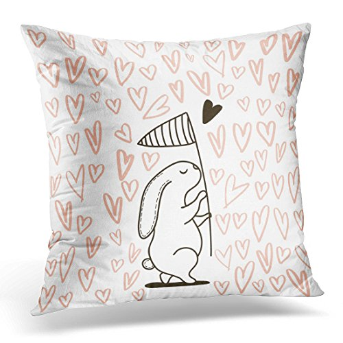 Golee Throw Pillow Cover Pink Bunny Cute Rabbit Catching Heart with Scoop Net Used As Romantic for Valentine's Day Love Decorative Pillow Case Home Decor Square 20x20 Inches (Scoop Neck Love Square)