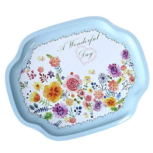 (SM SunniMix Vintage Platter Tin Plate Tray Retro Pattern - blue sunflower)