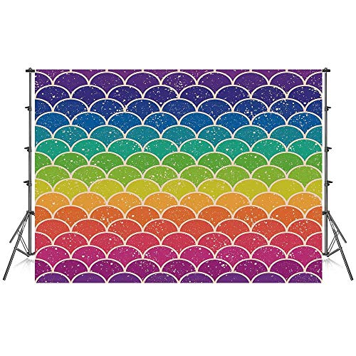 Rainbow Stylish Backdrop,Rainbow Colored Chevron Pattern with Wihte Spots Abstract Psychedelic Art Print Decorative for Photography Festival Decoration,86''W x 59''H ()