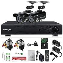 KKmoon 4CH Full AHD 1080N 1200TVL CCTV Surveillance DVR Security System P2P Cloud Onvif Network Digital Video Recorder + 1TB Hard Drive Support IR-CUT Filter Night Vision Weatherproof Plug and Play
