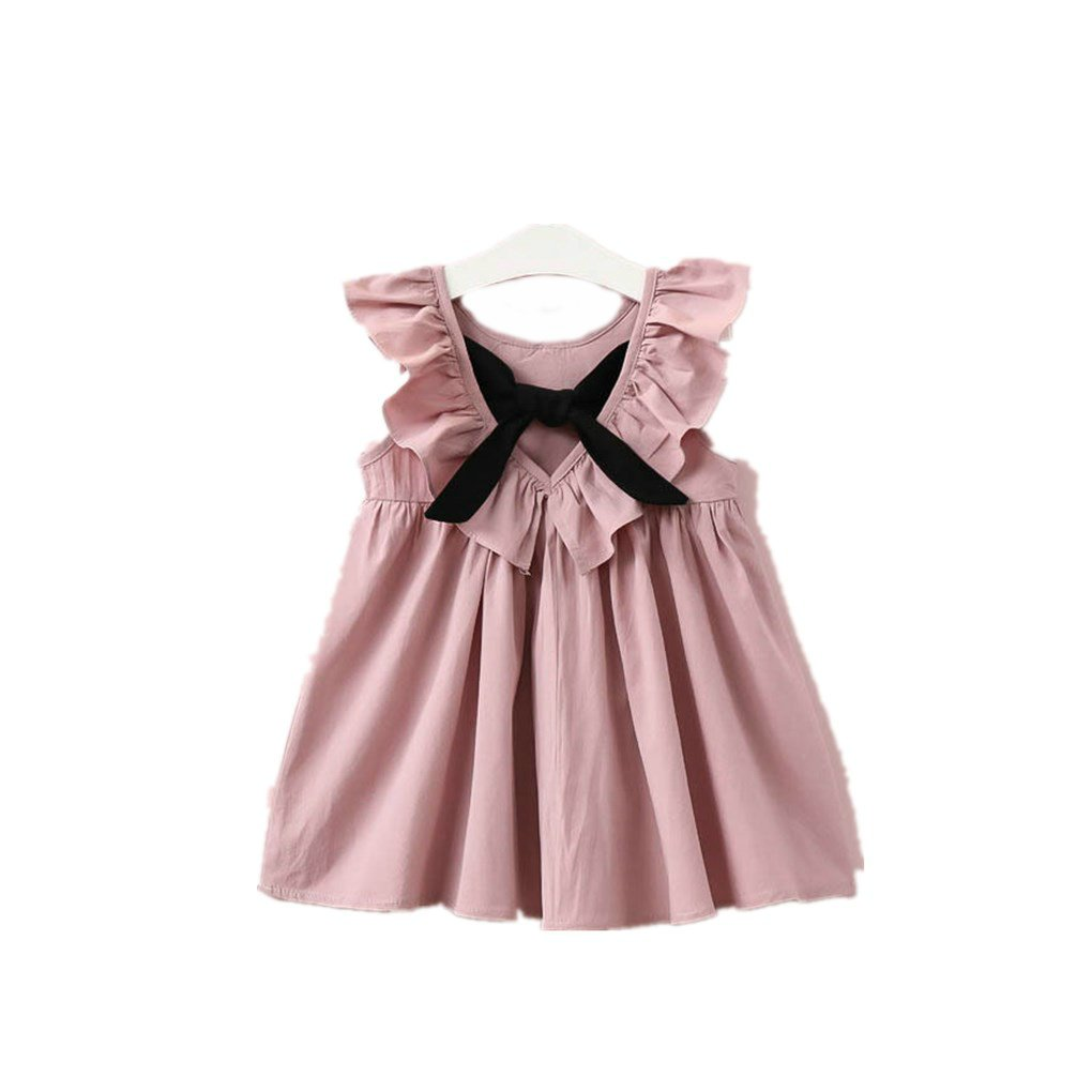 2T, Pink XYSSWW New Casual Style Fashion Fly Sleeve Girls Bow Dress Girl Clothing For Children Cute Dresses