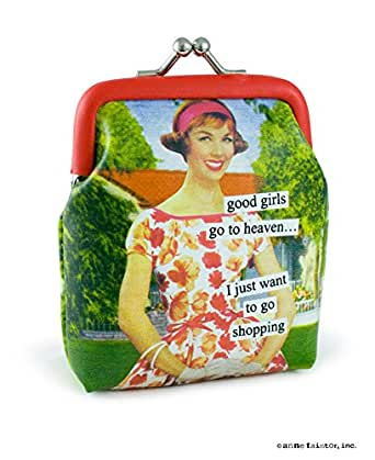 Anne Taintor Vinyl Kiss Lock Change Coin Purse - Good Girls Go to Heaven